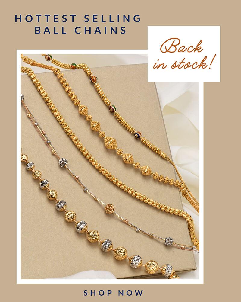 22k gold trending ball chain designs