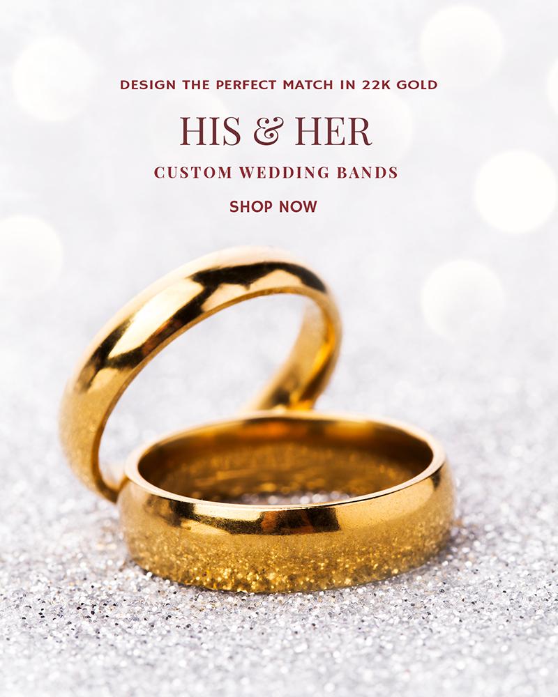 22k gold custom wedding bands for him & her