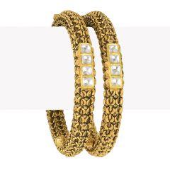 22k Gold Antique Gold Kundan Kadas