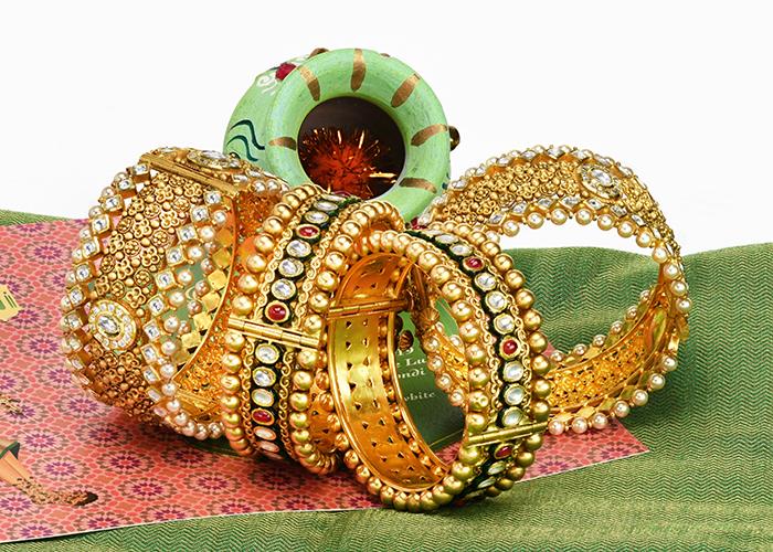 22k antique gold Indian bridal bangles