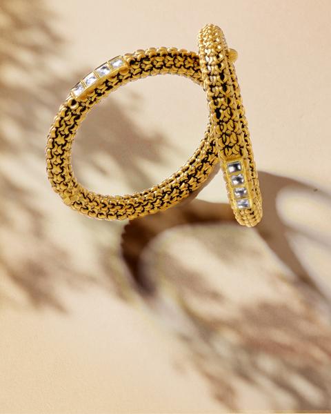 22k antique gold kundan kangan