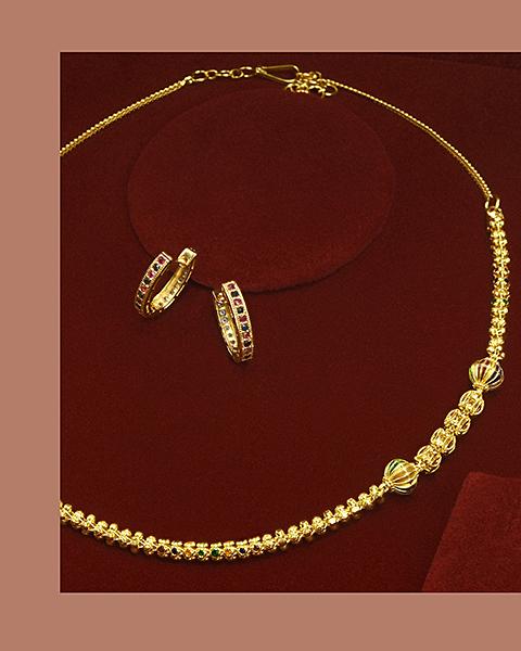 22k meenakari ball chain design