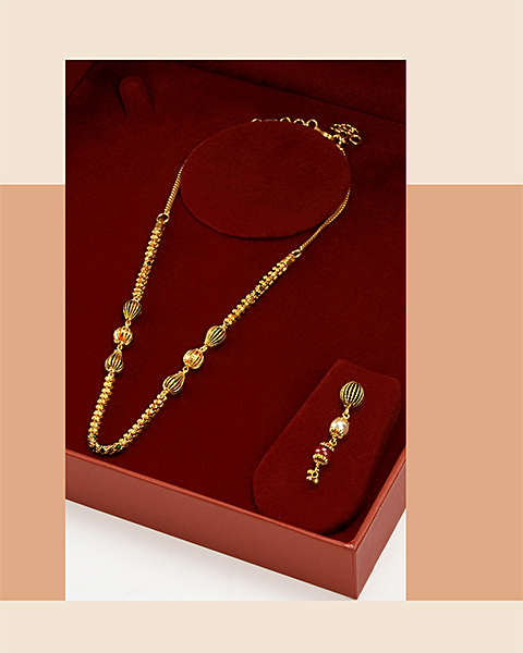 22k gold beaded ball chain