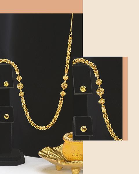 light-weight 22k gold ball chain necklace